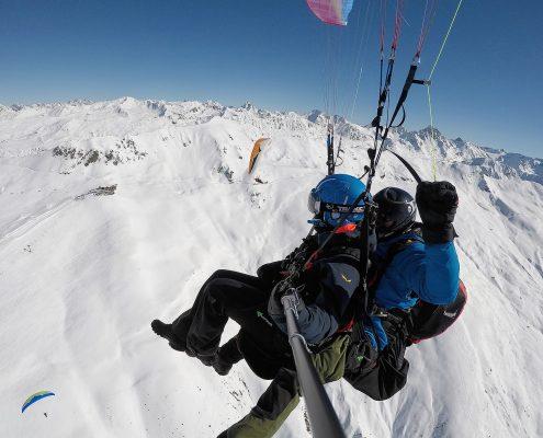 Thermikflug über der Davoser Jatzhütte