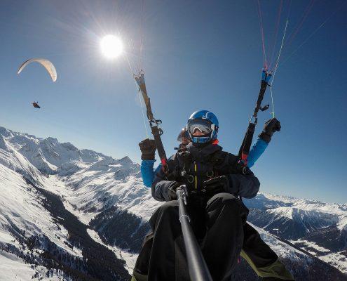 Winter Thermikflug im Davoser Sertigtal