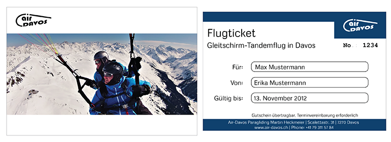 Give away a flight of fancy: Paragliding gift voucher in Davos or Klosters