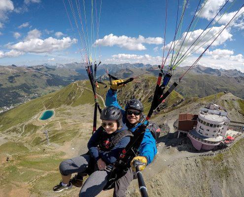 Paragliding Sommer Thermik-Tandemflug vom Jakobshorn in Davos
