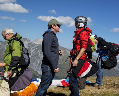 Tandem Gleitschirmflug: Instruktionen vor dem Start