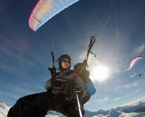 Winter Tandem Flug vom Jakobshorn Davos