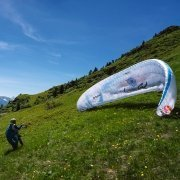 Team New Zealand 1 Kinga Masztalerz at launch (Paragliding Hike&Fly Red Bull X-Alps 2019)