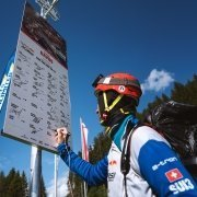 Adrian Keller signs the board in Davos (Red Bull X-Alps 2019)