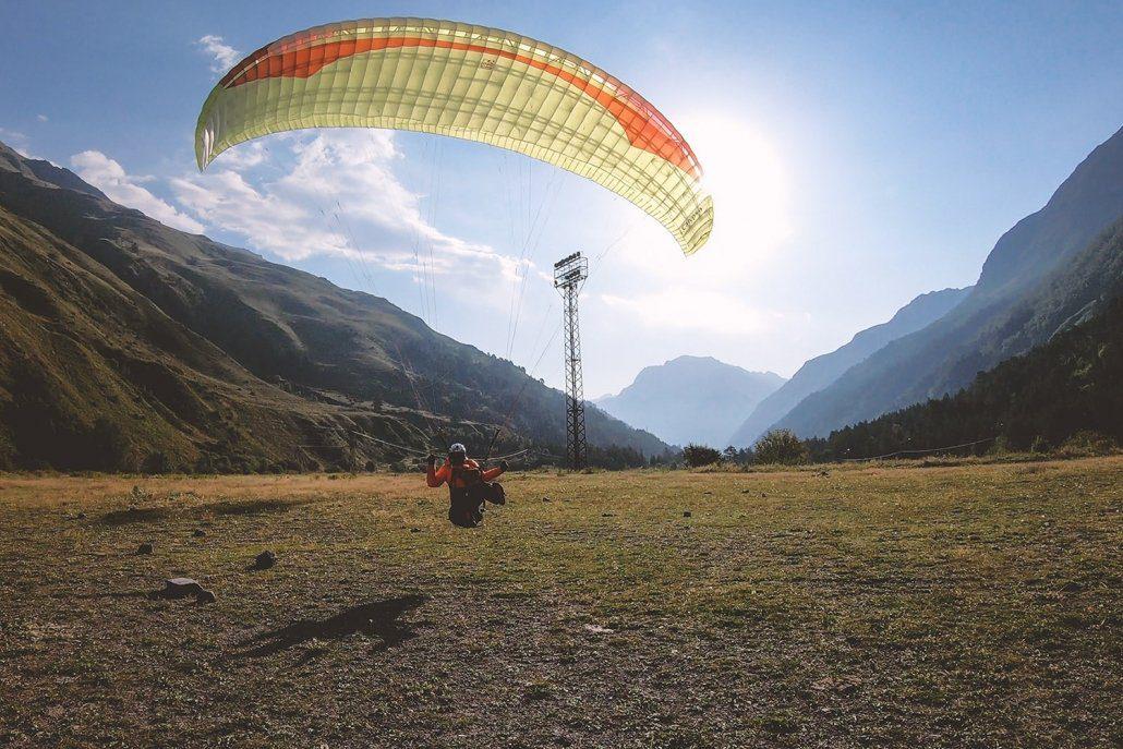 Hike And Fly Elbrus Paraglider Landing Terskol