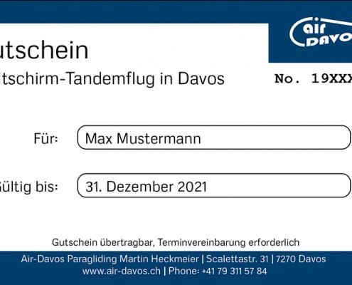 Gutschein Gleitschirmflug Davos
